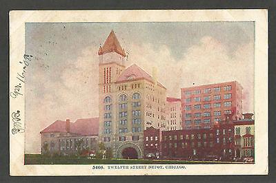 Vintage Postcard - Twelfth Street Depot, Chicago, Illinois 1908 Divided Back