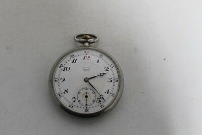 Rare Antique Vintage Old Swiss Longines Made Open Face Pocket Watch.