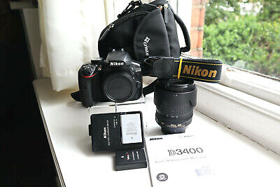 Nikon D3400 DSLR (shutter c.614) with AF-S DX 18-105mm Lens, 2 Batteries and Bag