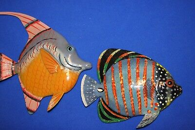 "(2) Realistic Seafood Decor Vivid Colors Coral Reef Fish 3-D, 8"", 101 241"