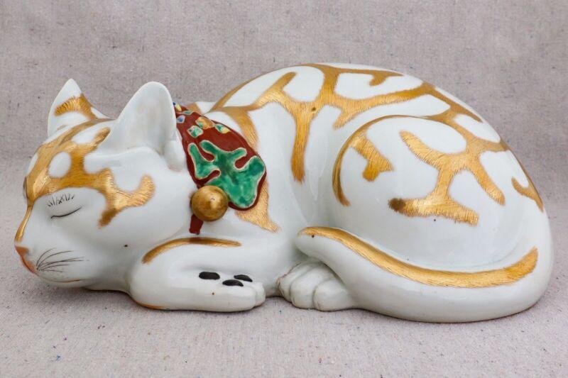 """Large Antique Vintage Signed Japanese Kutani Sleeping Cat Life Size Figurine 12"""""""