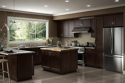 Fully Assembled - All Wood 10X10 Luxor Modern Espresso Shaker Kitchen Cabinets