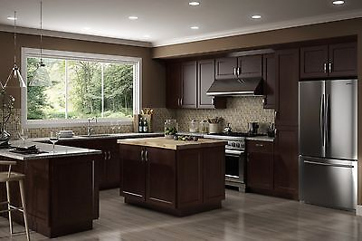 All Wood RTA 10X10  Luxor Espresso Shaker Kitchen Cabinets With Tinker Face Door