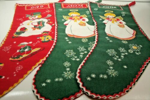 Vintage Christmas Flannel Stockings Family Dad Mom and Sister