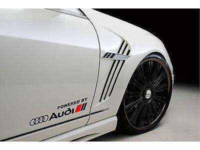 Powered by Audi Racing Sport S Line Decal sticker emblem logo BLACK/R Pair