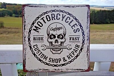 Nostalgie Blechschild Bild Motorcycles Custom Shop Repair 30x30cm Retro Nu52 NEU