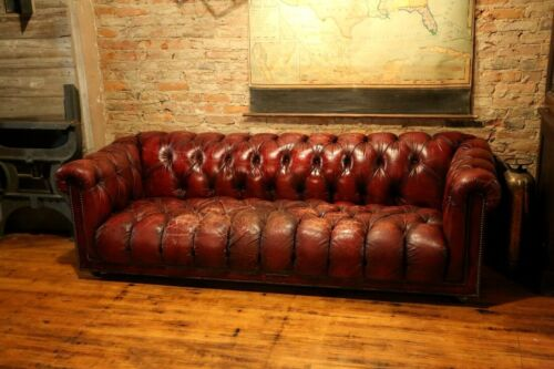 Vintage Chesterfield Sofa tufted button Red Oxblood Leather 1960s Era RARE