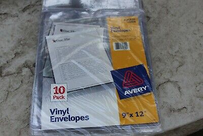 Avery Top-load Clear Vinyl Envelopes Thumb Notch 9 X 12 Insert 10pack Open