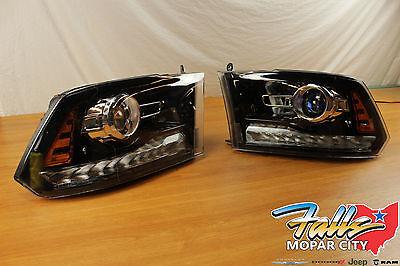 2013-2015 Pair Of Dodge Ram 1500 2500 3500 Black Projector Headlights Mopar OEM