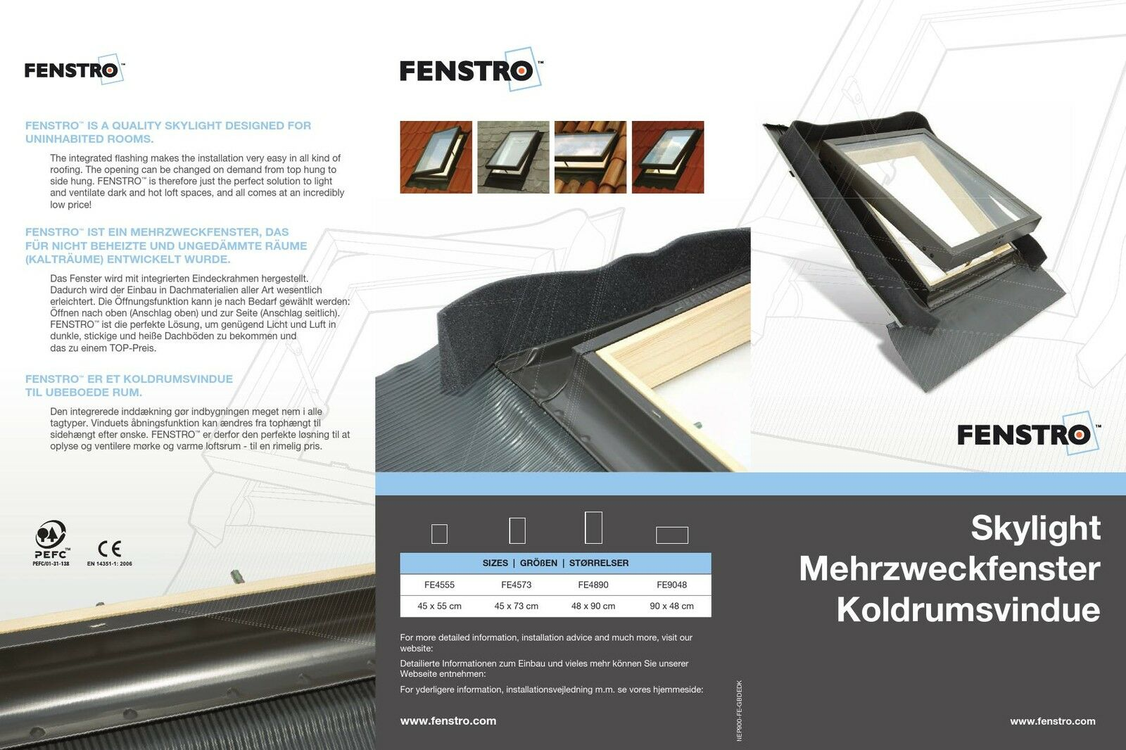 Fenstro Rooflite Double Glazed Skylight Access Roof Window