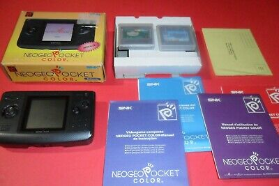 NeoGeo Pocket Color SYSTEM USA ANTHRACITE COMPLETE IN BOX CIB SNK + 2 Games!