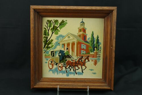 Paint By Number Independence Hall Horse & Carriage Framed Vintage