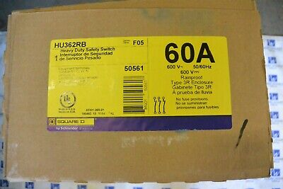 Hu362rb Square D 60 Amp 600 Volt Non Fusible 3r Outdoor Disconnect Switch New