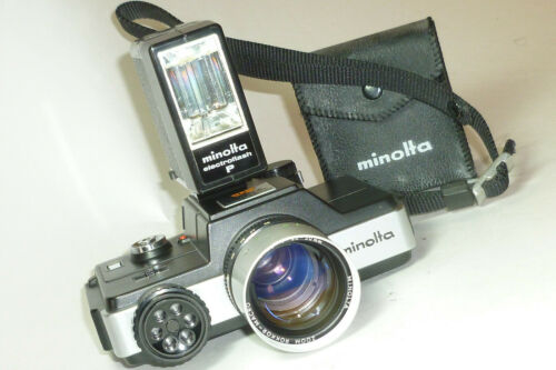 vintage Minolta 110 Zoom Slr Camera w/ Minolta ElectroFlash P *