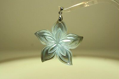 52MM CARVED NATURAL SILVER LIP MOTHER OF PEARL HAWAIIAN PLUMERIA FLOWER -