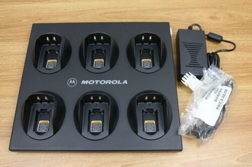 Open Box Motorola HTN3009A Multi-Unit Two-Way Radio Charger GP300 6-Slot + Cable