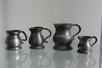 FOUR 19th C English Pewter Measuring Cups Jugs marks GILL FEARNSIDE DEWSBURY