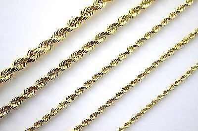 14K Yellow Gold Rope Twist Link Chain Necklace 2mm ~ 5mm 16
