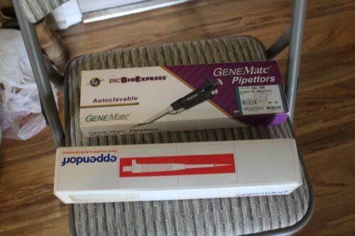 2 lot - Eppendorf 4810 0.5-10µL pipette & Genemate Pipettor  P-3963-5000 1000µL