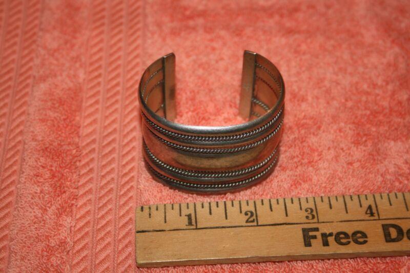 Vintage Sterling Silver 925 Wide Cuff Bracelet Signed Tahe