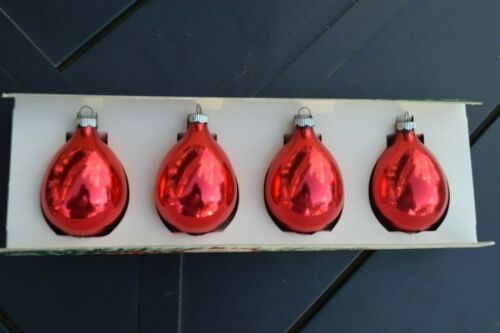 shiny brite vintage ornaments box of 4 red
