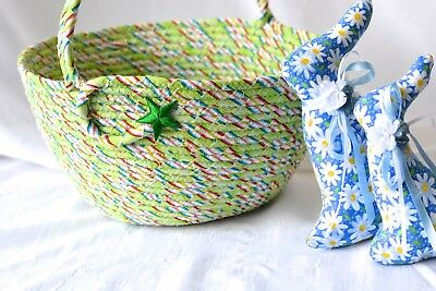 Boy Nursery Basket, Handmade Green Bucket Cotton Toy Bin by Wexford Treasures
