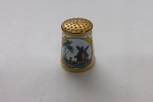 CRUMMLES ENAMEL THIMBLE VERY PRETTY WINDMILL AND WATERMILL DESIGN 2CMS (1639)