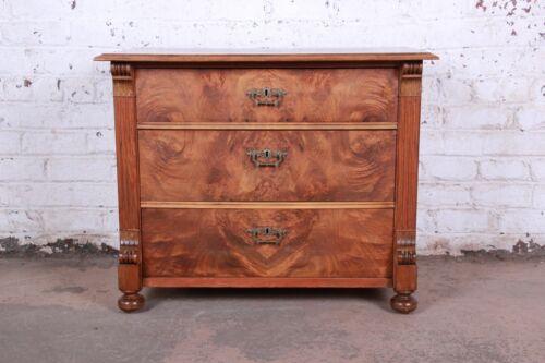19th Century Continental Burled Walnut Three-Drawer Bachelor Chest