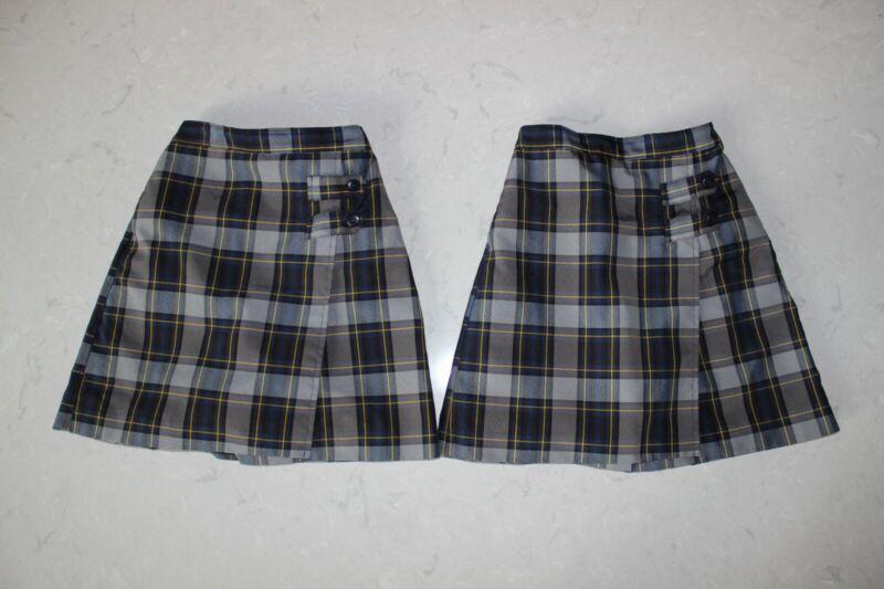 Dennis Uniform Girls Tyler Plaid Skort w/Tabs & Inner Shorts - Size 8 - Set of 2