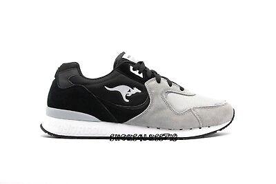 - NEW MENS KANGAROOS ROOS 2 BLACK GREY WHITE SUEDE LACE UP RUNNING SNEAKERS
