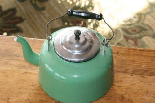 Large Antique Green Enamelware Teapot