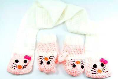 CHIC & CUTE CREAM/PINK SCARF-GLOVES SET KITTY MOTIF PERFECT GIFT 4 GIRLS -