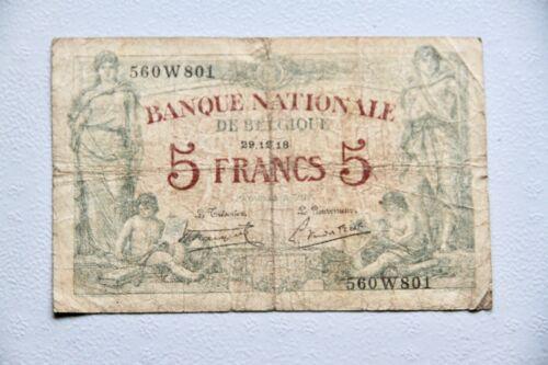 Belgium 5 Franc 1918  Banknote P 75b