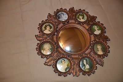 """15.5"""" Vintage Cameo Creation Ornate Syroco Convex Wall Mirror -3"""" Picture Frames"""