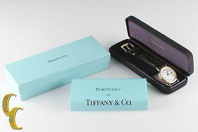 Tiffany & Co.Herren Ss Gold Elektroplatte Portfolio Quarz Uhr mit / Kiste &