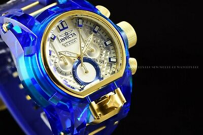 Invicta Men's 52mm Bolt Zeus Magnum Blue Gold Silicone Band White Dial Watch