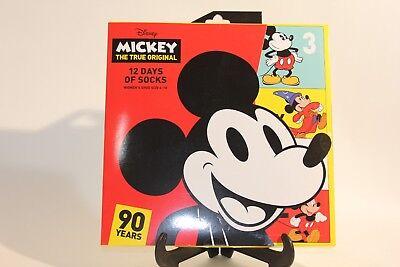 Womens 12 Days of Socks Disney Mickey 90th Anniversary Christmas Advent Calendar