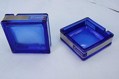 2x schöne Aschenbecher von Gauloises, blaues Glas mit Edelstahl, Neu & unbenutzt
