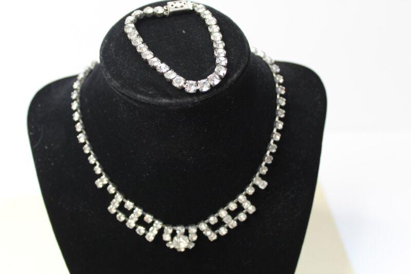 Vintage Rhinestone Choker Necklace And Bracelet Set - Marked Sterling Clasp