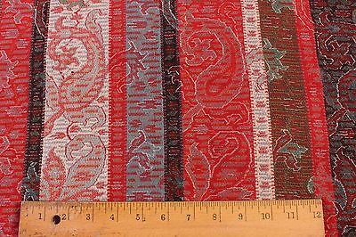 "Antique Woven Turquoise&Red Wool Paisley Design Fabric~2yds4""LX30""W~HomeDec,Xmas"