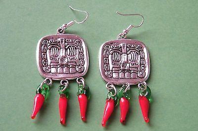 Cinco De Maya (AZTEC MAYAN GOD Earrings Red Chili Peppers Silver Ear Wires Cinco de Mayo)