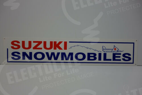"""SUZUKI SNOWMOBILES DEALERSHIP SIGN. 30"""" BY 6""""  GREAT COLORS!"""