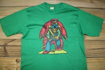 VTG 70's 1972 Roach Iron On Bear Hunter T-Shirt L 50/50 Velva Sheen
