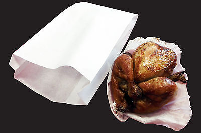 Hot Food White Bag Large x 500 (180 +60 x 350mm)  40gm paper with 20gm PP lining