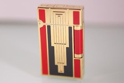 S.T. DUPONT ART DECO LINE 2 LIMITED EDITION GOLD LIGHTER RED & BLACK LACQUER