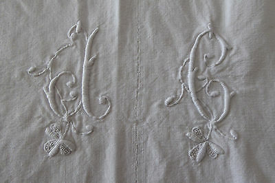 ANTIQUE FRENCH RUSTIC METIS SHEET / FABRIC / TEXTILE - MONOGRAMME DC or DG