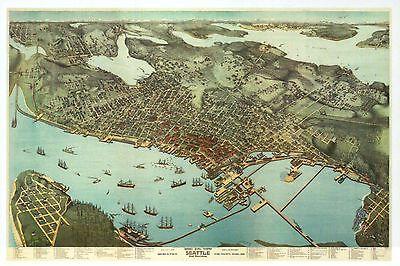 Seattle Washington, Old City Map Panoramic View c 1891, Harbor - Modern Postcard
