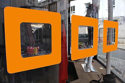 3 Stück orange selbstklebende Dekorahmen Schaufensterbeschriftung Schaufenster