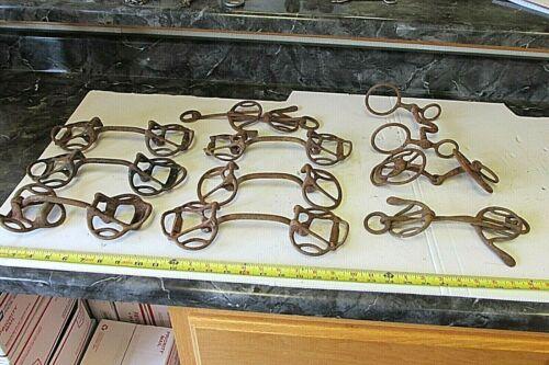10 OLD KANSAS FARM HORSE BRIDLE BITS , SOME ANTIQUE  LOT D