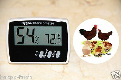 Digital Egg Incubator Thermometer Hygrometer Measures Temperature Humidity